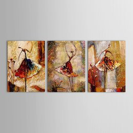 Wholesale Group Oil Paintings Design - Dancing Girl Abstract Oil Painting Stock Framed Design 3 Pieces Group Painting Ready to Hang