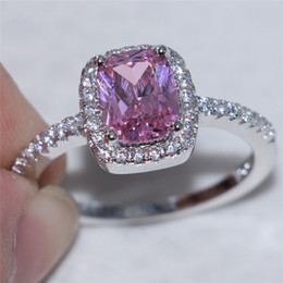 Wholesale Silver Rings Pink Diamonds - Fashion 925 Sterling Silver set with Square Pink Simulated Diamond Zircon Ring Engagement Wedding Band Jewelry For Women