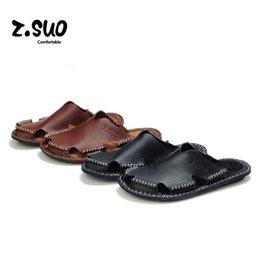 Wholesale Cheap Men Platform Shoes - Cheap Summer Men's Flip Flops Fashion Men Slippers Slip On Sandals Platform Male Shoes Casual Beach Mens Slipper Wedges Genuine Leather Flat