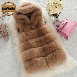 Wholesale Genuine Fur Trimmed Coats - Wholesale-New Arrival Real Fox Fur Vest Women Winter Slims Medium Long Genuine Natural Fox Fur Vests Female Fur Coat Jacket 2016 Fashion