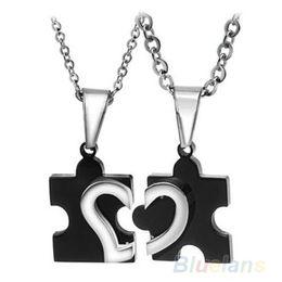 Wholesale Couples Puzzle - 1 Pair 2016 New Men's Women's Couple Lovers Stainless Steel Love Heart Puzzle Necklaces & Pendants 09I8