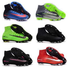 Wholesale Ankle Boots 11 Men - High Quality Mens Soccer Shoes Mercurial Superfly V FG AG High Ankle Football Boots Outdoor Men Soccer Cleats CR7 Football Shoes us6.5-11
