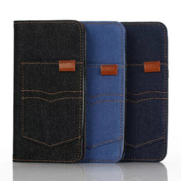 Wholesale Card Case Wood Wholesale - Jean Jeans Cowboy Leather Cover for Samsung Galaxy Note7 Wallet Phone Frame Card Slot Kickstand Case for iphone7 iphone7 plus Wood Pattern