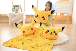Wholesale Coral Plush - Poke Pocket Monsters Pikachu pillow 3 in 1 Warm hand Pillow 40cm Blanket 100*150cm Multifunction plush Cushion Portable Coral blanket