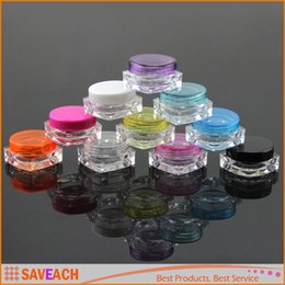 Wholesale nail polish bottles wholesale - 3g Plastic Cosmetic Container Nail Polish Cream Sample Bottle Empty Lip Balm Packing Square Bottom Jar Free Shipping