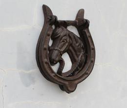 Wholesale Wholesale Rustic Handles - 2 Pieces Horse Design Cast Iron Rustic Door Knocker with Horseshoe Handle Western Door Knocker Metal Free Shipping