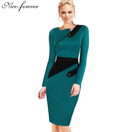 Wholesale Nice Bandage Dresses - Nice-forever Business Female Pencil Dress Elegant Lady Illusion Patchwork Sheath Buttons Fitted Women Bodycon Bandage Dress b231