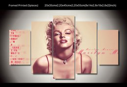 Wholesale Marilyn Monroe Art Posters - 5 Panel HD Printed marilyn monroe poster painting wall art Canvas Print room decor poster canvas Free shipping