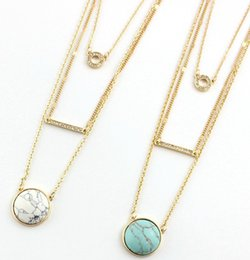 Wholesale Turquoise Tennis Necklace - Multi layers white turquoise necklace three layer geometry statement necklace semi precious pave stones layers necklace