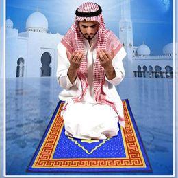 Wholesale Muslim Prayer Rugs - Hot red gold blue green blanket 66*110cm New Muslim Multicolor Pocket Size Prayer Travel Rug Islamic Religious worship blanket