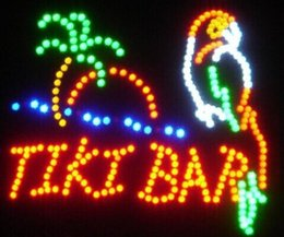 Wholesale Led Tiki Bar - 2016 hot sale 19*19 inch indoor Ultra Bright TIKI BAR Home Wall Decor led Neon open sign led billboards Wholesale