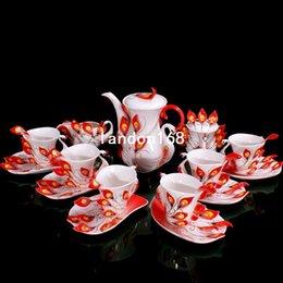 Wholesale Peacock Tea Cup Set - Exquisite Ceramic Peacock Coffee Sets 21 Pieces Porcelain Tea cup suit Wedding Gift
