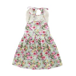 Wholesale Dresses Brace Blue - 2016 Baby girl floral print dress with lace Kids girl summer braces skirt girl sleeveless Pleated cloth size80-120