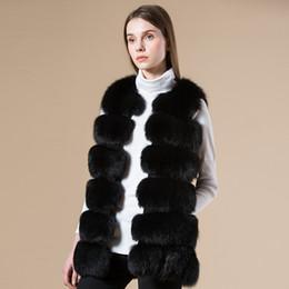 Wholesale Ladies Leather Coat Fox Collar - Wholesale-2016 Winter Fashion Women Real Fox Fur Vest Lady Genuine Leather Fur Coat Warm Vest Fox and Rabbit Fur Overcoat gilet