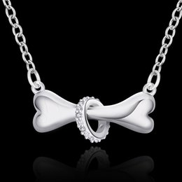 Wholesale Silver 925 Bone Charm - 2016 N624 Hot Paw 925 silver necklace dog bone Tag rolo 18inch Pendant necklace Doggie Puppy Pet wholesale factory store