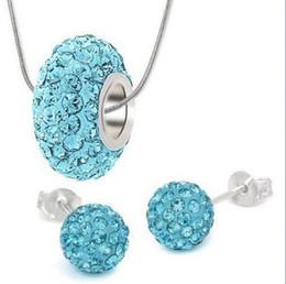 Wholesale European Bead Earrings Wholesale - fashion WHOLESALE !2014 ftrty new shamballa Sets necklace 10mm earring set 14mm european beads Resin Silver Big Hole Jewelry for women hot
