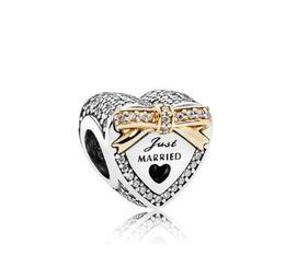 Joyas casadas online-Se adapta a Pandora Pulsera de plata esterlina Bowknot de plata 18KGold PL Just Married Beads Encantos para la cadena europea del encanto de la serpiente Joyería DIY