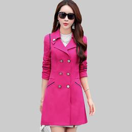 Wholesale Double Breasted Women Windbreaker - Autumn New Windbreaker Female Trench Coat Long Korean Plus Size Elegant Ladies Slim Coats Women Double Breasted Trench ZA272