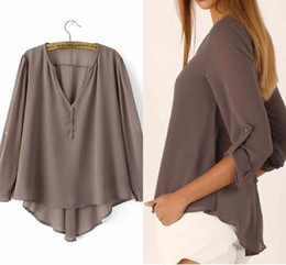 Wholesale Cheap Solid Clothes - 2017 New Sexy Style V Neck Women Chiffon Shirts Autumn Long Sleeves Cheap Party Blouses Plus Size S-3XL Women's Clothing FS0600