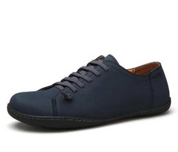 Wholesale Vintage Comfort - 2017 New Mens Shoes Real Leather Men's Flats Vintage Brown Handmade Schoenen Comfort Fashion Mens Loafers Espadrilles