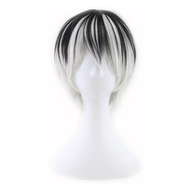Wholesale Black Boy Wig - WoodFestival men wigs natural heat resistant men anime wig short straight hair two tone black and white synthetic hair wigs fiber cosplay