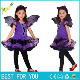 Wholesale Dress Wings Children - Hot Halloween vampire princess dress children halloween costume lace dress+ wing set kid party dress performance cosplay costumes M-XL
