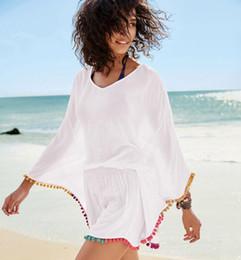 31a33efddee1 Beach bikini cover ups Colorful tassel pleated blouses summer women cotton  big loose sunscreen swimwear shirt seaside holiday beachwear tops