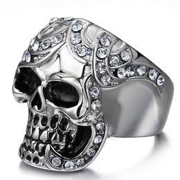 Wholesale Skulls Punk Rock Rings - Diamond rhinestone skull ring in punk style,Men women Large Stainless Steel Ring Silver Death grim Reaper Skull Punk Rock style with diamond