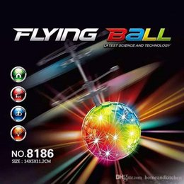 Wholesale Pink Helicopter Toy - 2016 Toys RC Helicopter Flying Induction LED Noctilucent Ball Quadcopter Drone Sensor Suspension Remote Control Aircraft Kids Gift