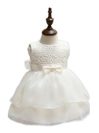 Wholesale Discounted Baby Girl Dress - BABY WOW discounted newborn baby clothes ivory bow princess girls dresses for formal gowns first birthday dresses 90194