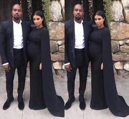 Wholesale Kim Kardashian White Dress Cheap - 2016 New Cheap Black Kim Kardashian Pregnant Prom Dresses Sheath With Long Shawl Cape Floor Length Formal Party Maternity Evening Gowns