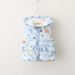 Wholesale Cute Animal Vests - Everweekend Kids Girls Cute Print Rabbits Lovely Warm Baby Coats Zipper Hooded Children Sweet Vest Jackets Outwears