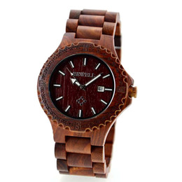 Wholesale Gear Display - Father's day gift wood bracelet watches classic vintage wooden wrist watch for men gear dial calendar display red Sandalwood old man clock