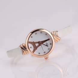 Wholesale Rhinstone Watches - 2017 New Arrival Bowknot Leather Watch Narrow Leather Band Round Rhinstone Dial Iron Tower Chrismas Gifts Utop2012