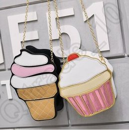 Wholesale Cupcakes Icing - 20pcs LJJC4225 High Quality Fashion 2D Funny Ice Cream Cupcake Handbag Messenger Zipper Bag Purse Crossbody Splicing Messenger Body Key Bag