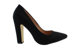 Wholesale Elegent Shoes - 2016 Fashion Women Office Dress Footwear 10CM Black Chunky High thick heeled Wedding best buy Ladies Pumps elegent studed Pointed shoe woman