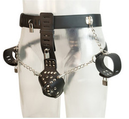 Wholesale Male Chastity Cuff Set - Male Leather Chastity Pants with Hand Cuffs Men Sexy Chastity Belt Fetish Bondage Restraint Set Sexual Tools Gays bdsm Underwear