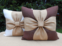 Wholesale Handmade Home Decor - Pure cotton bowknot pillow case for sofa car home decor cushion cover square 45*45cm throw pillow good quality lumbar pillow