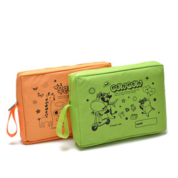 Wholesale Bright Hand Bags - Cartoon Square Waterproof Cosmetic Bag Toiletry Kits Bright Color Women Hand Bag