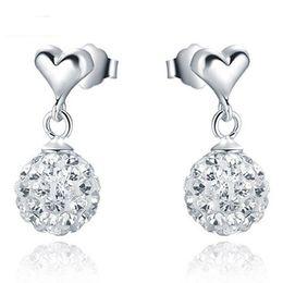 Wholesale Shamballa Dangle Earrings - High Grade Silver Shamballa Ball Earrings Hot Sale Austrian Crystal Dangle Earrings for Wedding Party Fashion Jewelry Wholesale 0051WH