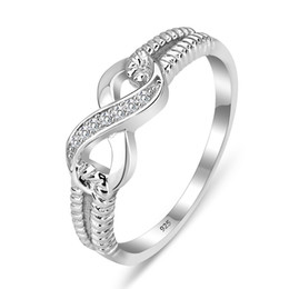 Wholesale 925 wholesale silver ladies rings - Wholesale-Sterling Silver 925 Rings For Women Silver Jewelry Brand Rings Wedding Lady Infinity Rings (Silveren SI1087)