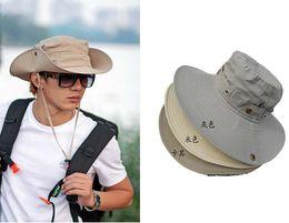 Wholesale Safari Cap - Wholesale-Men's plain Bucket Caps Safari Hat Outdoor Hunter Caps Wide Brim Boonie BC-87