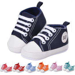Wholesale Infant Canvas Sneakers - 2016 Kids Baby Sports Shoes Boy Girl First Walkers Sneakers Baby Infant Soft Bottom canvas walker Shoes for 0-12Mos 7 color B556