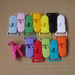 Wholesale Plastic Suspender Pacifier - 2.0cm D shape Kam Plastic Baby Suspender Pacifier Dummy soother Chain Holder Clips for 20mm ribbon