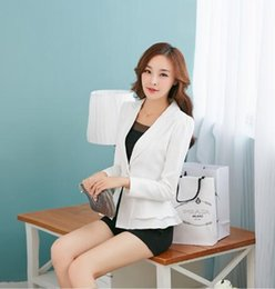 Wholesale Suit Jacket White For Woman - Wholesale-Free Shipping Blue Rose Red Black White Blazer For Women's Suit New Fashion Pleated One Button Slim Waist Jacket F83032