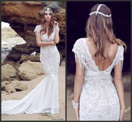 Wholesale Vintage Bling Wedding - 2017 Sheath Beach Lace Beaded Bling V Neck Wedding Gowns Vintage Backless Country Modest Wedding Dresses