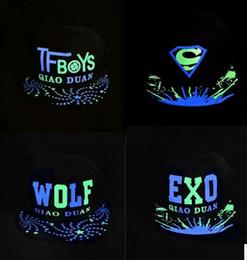 Wholesale Exo Caps - Fashion Designer Luminous Night Glow Cotton Caps Mens Womens Hip Hop Superman EXO Baseball Hats Adjustable Snapbacks Kpop Party Skull Gorras