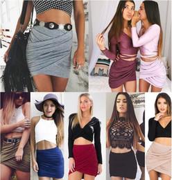 Wholesale Womens Clubwear Sexy Minis Skirts - 2016 Summer Women Sexy Bandage Skirts High Waist Mini Skirts Womens Pencil Skirt Clubwear Fold Plus Size Pleated Women Skirt