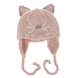 Wholesale winter earmuffs - 2017 Cartoon cute Cat Children Caps Wholesale hats Hand Knitted Caps Animal Winter Hats kids Winter Hat Crochet baby earmuffs hat A1185
