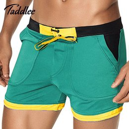 Wholesale Printed Boxers - Wholesale-Taddlee Brand Mens Sexy Swimwear Swimsuits Swim Boxer Board Beach Shorts Trunks Bathing Suits Gay Men Surf Boardshorts Sport Gay